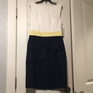 Dresses & Skirts - White and blue dress with a yellow band at waist